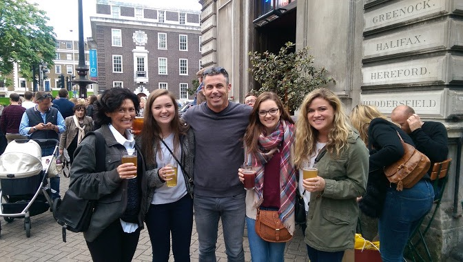 Here's all of us outside Euston Tap. Don't worry, Dad's drink is behind my back.