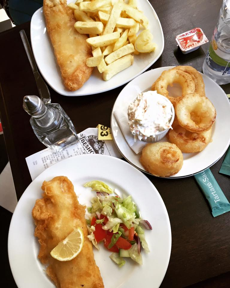 Our fish & chips lunch at a place called Beshoff. Very yummy.