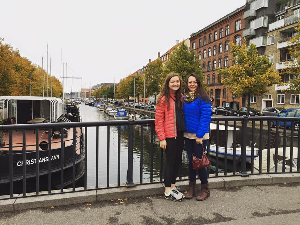 Here we are in Christianshavn after breakfast. *Not pictured: all the solo shots she took of me with bikes, signs, and buildings*
