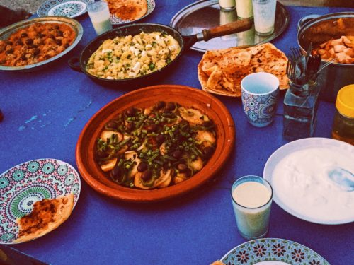 A traditional Moroccan meal
